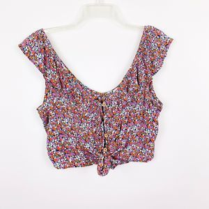 Patrons of Peace Micro Floral Cropped Top